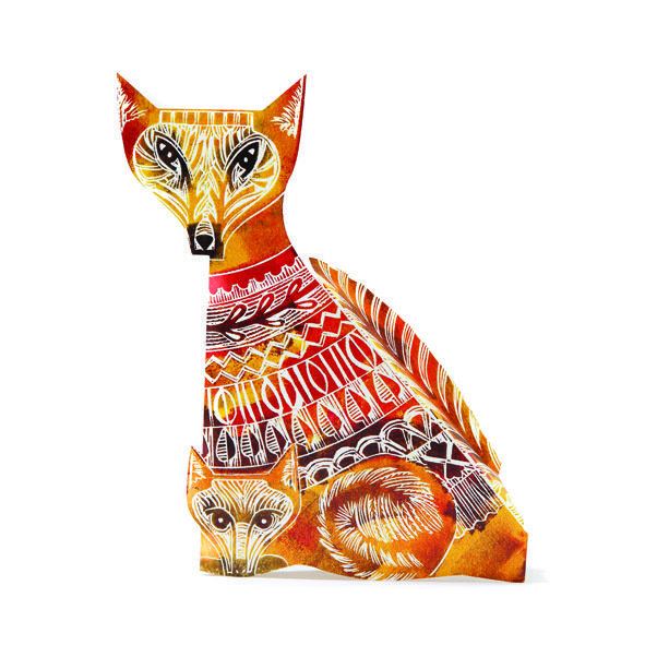 Country Living Editor Says  This charming colourful fox and cub design folds out to create an elegant, free-standing, three-dimensional card that is an object of beauty in its own right.  Printed in the UK on board from FSC-approved mixed sources, it is fully recyclable and biodegradable.  Left blank inside for your own message, it is supplied with a white envelope in a clear wrapper.  Measurements: 16cm x 18cm (envelope).