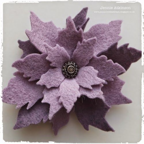 Live The Dream: with a felt flower using the Tim Holtz poinsettia die; Jan 2015
