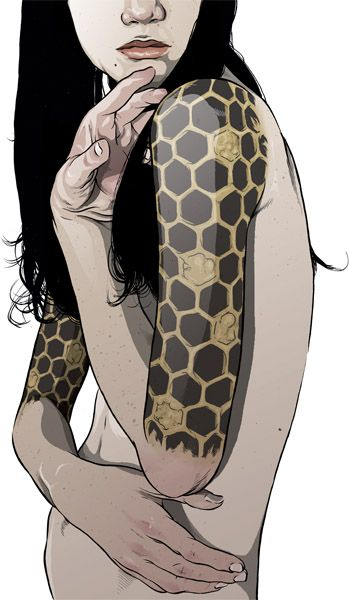 Matthew Woodson.  Honeycomb tattoos sound really freaking cool, but I'm not one who would even think of getting a sleeve.