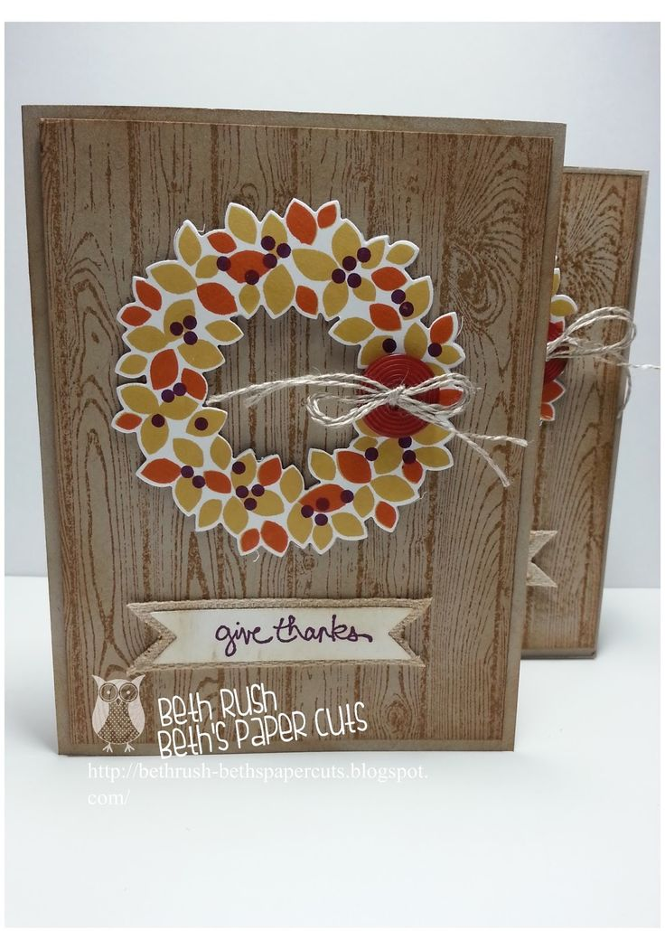 Stampin'Up! ... handmade Thanksgiving card from Beth's Paper Cuts ... wood grain boards background stamped on kraft ... Wondrous Wreath in fall colors ... twine bow ... luv it!!