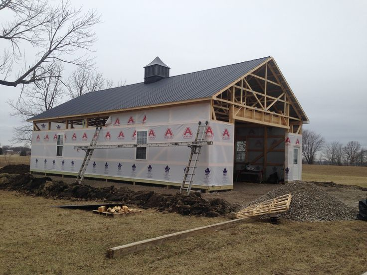 This post frame is under construction in Marion. Post