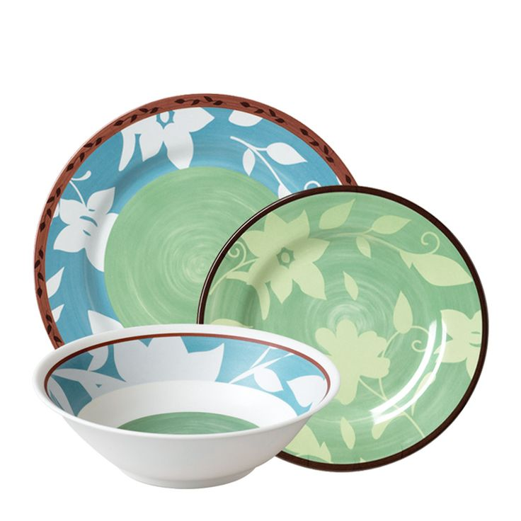 Patio Garden 40 Piece Melamine Dinnerware And Acrylic Set, Service For 8
