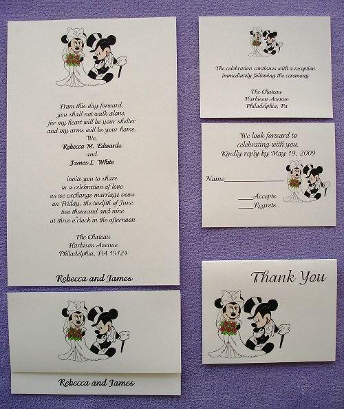 100 Personalized Custom Mickey And Minnie Disney Couple Wedding Invitations  Set