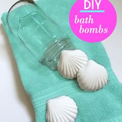 DIY bath bombs:  1 cup citric acid, 1 cup baking soda, ½ cup cornstarch, ½ cup melted coconut oil, 8-10 drops of essential oil(s), Silicone molds or paper cupcake liners, Food coloring (optional).