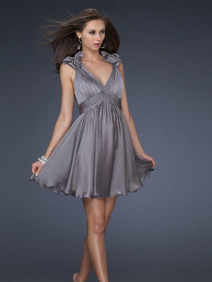Line Grey Sleeveless Pleated Wrap Elegant Cocktail Dresses