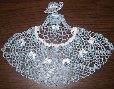 New Hand Crocheted Crinoline Lady/Girl Doily blue/white AFATC