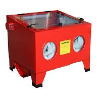 90L Sandblast Cabinet Price: $75.00 1. Use silicon sand, glass beads of aluminum oxide to clean or Polish material.  2. Operate air: 80PSI/5CFM 3. All steel cabinet with plexiglass viewing lid. 4. Portale enough to use on work bench or to take a job site. 5.90L blast cabinet include: 4 assorted ceramic nozzles, rubble gloves, blasting gun with trigger, dust collector part, hopper and screen. 6.Overall Dimension: 63*53*48cm 7.Working Space: 56*46*28cm