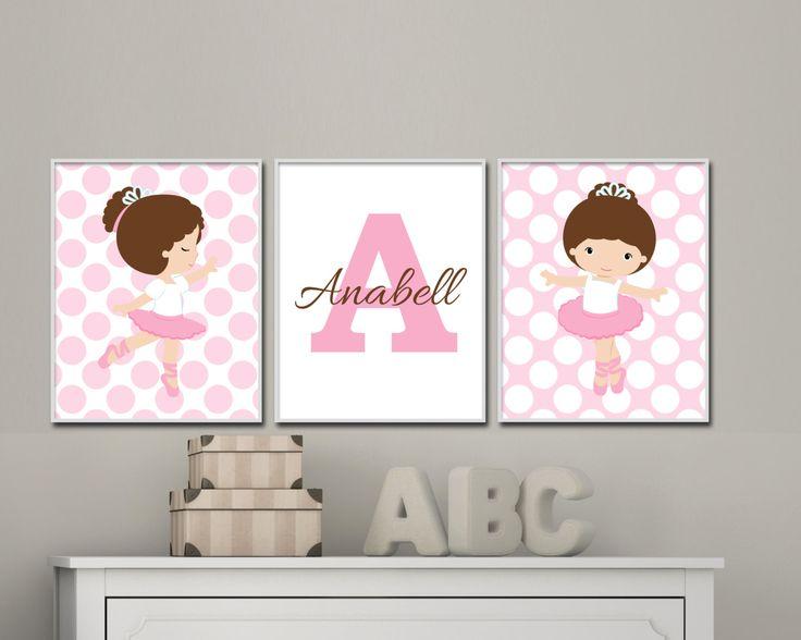 Baby Girl Nursery Art Print Set. Ballerina Nursery by HopAndPop