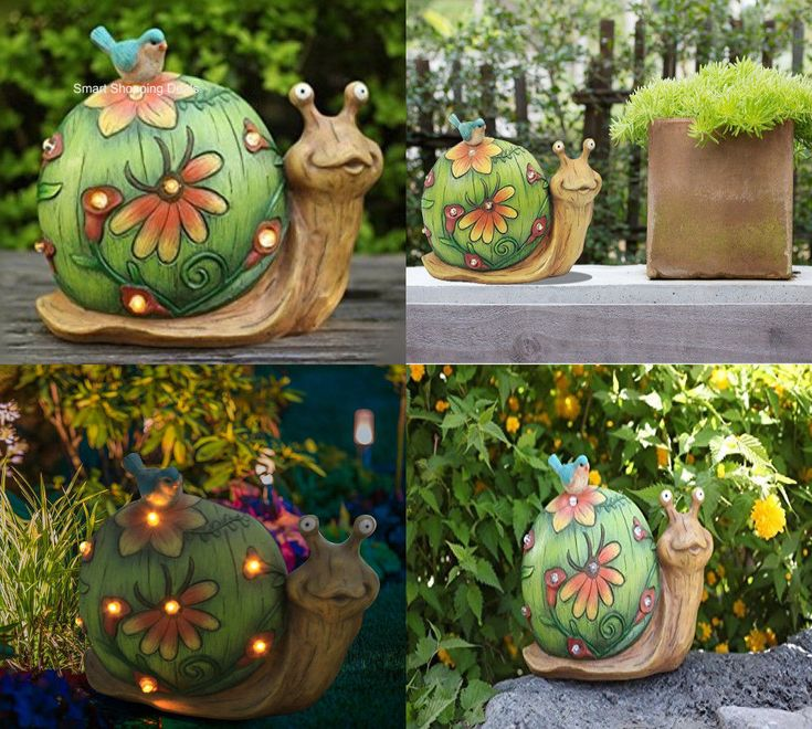 Garden Statue Figurine with Solar LED lights Snail Decor Yard Decoration 10 inch #Unbranded