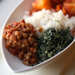 Lentils with Spinach and Garlic by my favourite Indian chef, Madhur Jaffrey. You can never go wrong with her recipes!