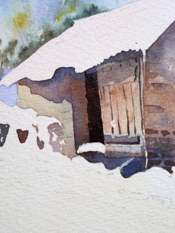 Schnee Und Hutte Schritt Fur Schritt Im Aquarell Watercolor