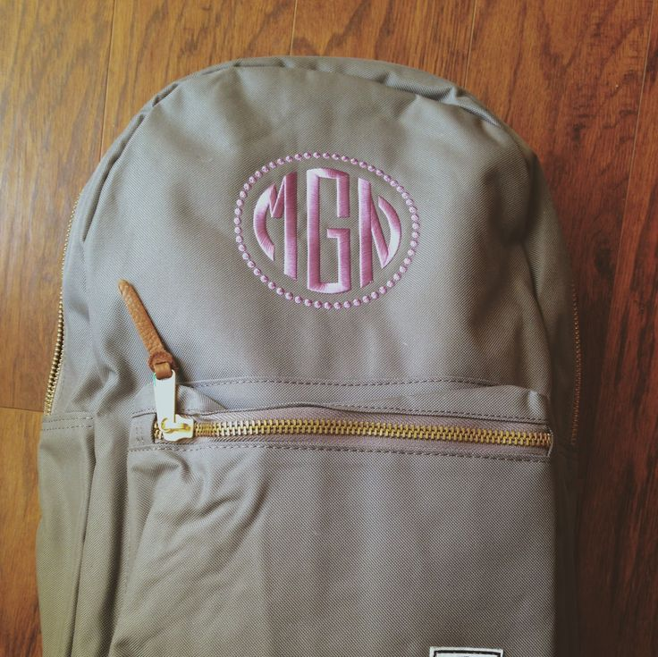 Adorable monogram backpack | www.dfwembroidery.com