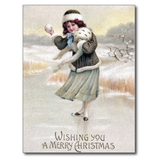 Old Fashioned Ice Skater Vintage Christmas Post Card | Zazzle