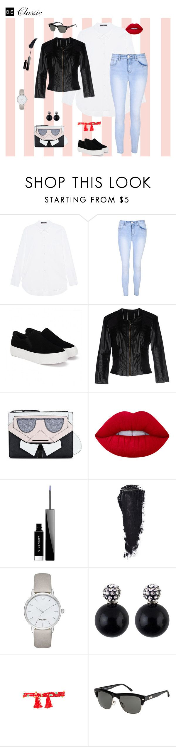 """Be Classic"" by nikyx on Polyvore featuring Steffen Schraut, Glamorous, Silvian Heach, Karl Lagerfeld, Lime Crime, Givenchy, Kate Spade and Shashi"