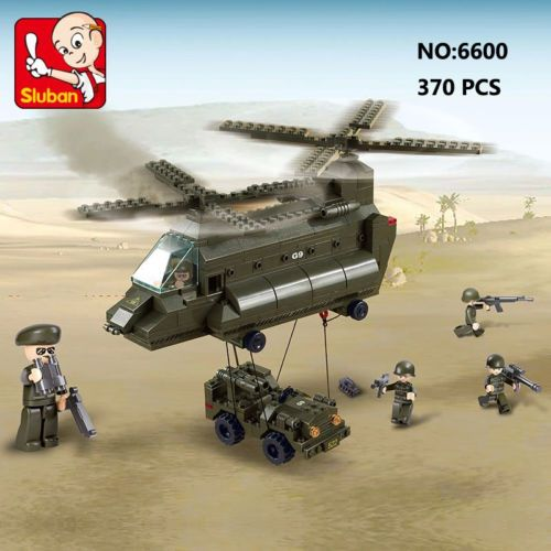 Sluban-B6600-Army-Transport-Helicopter-Minifigures-Enlighten-Building-Block-Toy