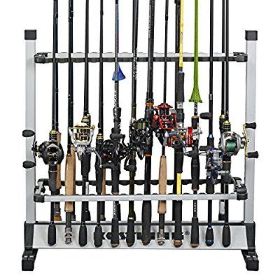 KastKing Rack 'em Up Portable Aluminum Fishing Rod Holder - 24 Rods Rack SilverBlack