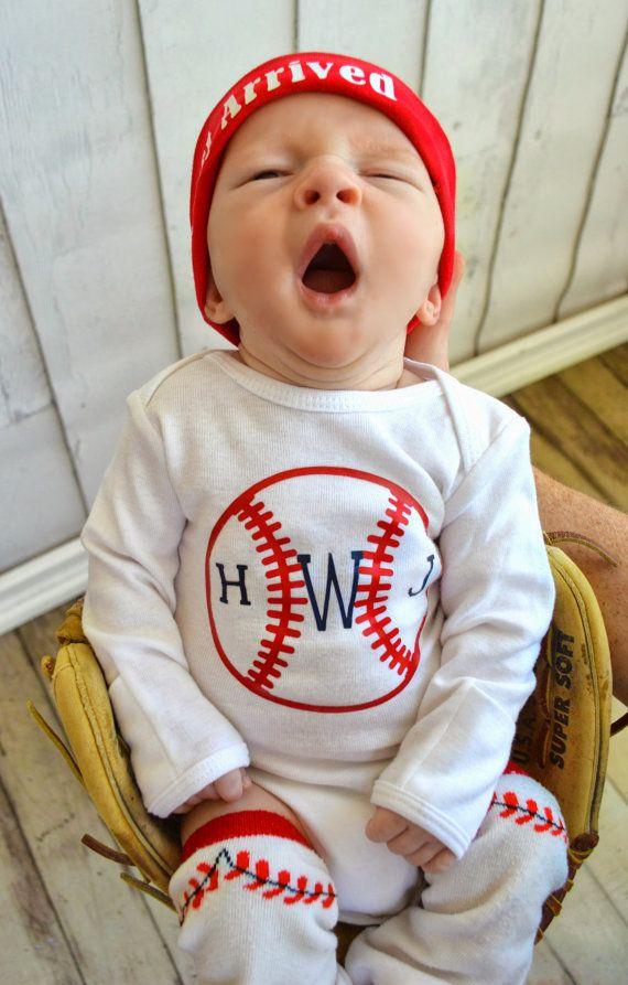 Boys Monogram Baseball Onesie Bodysuit Red Navy Blue Initials Newborn through 3T on Etsy, $16.50