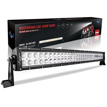 MicTuning MIC-BC2180, 180W Combo Spot Flood Beam LED Lights Bar, 13200 lm, 4 x 4 Off-Road Polaris Razor, ATV, SUV, UTV, Jeep