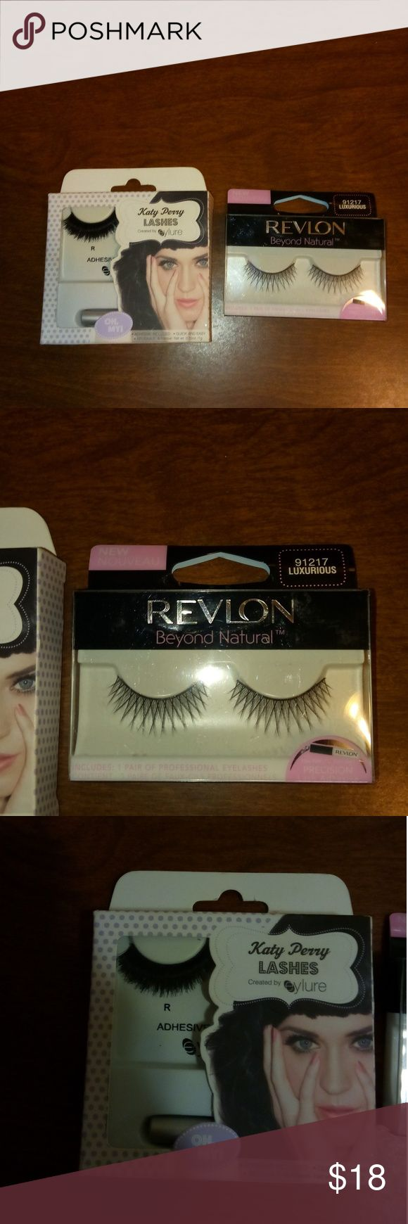 Fake eyelashes. One-brand is Katy Perry lashes created by Allure very thick and full lash. Never been used. The other lashes. Are made from Revlon. Long Lash but thinner. Never been worn. They have never been taken out of the box. Both come with the glue. Glamorous!!! 👀👀👀👁️👁️👁️👁️💕💕 Katy Perry lashes Other