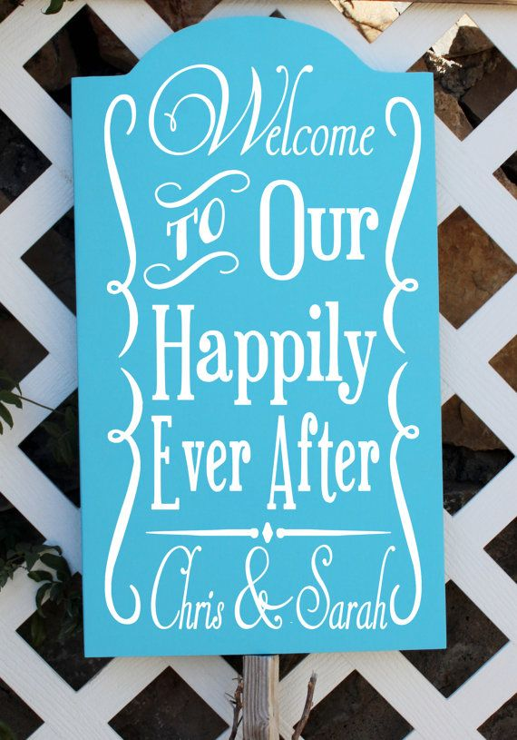 "20"" Tall Personalized Wedding Sign. Welcome To Our Happily Ever After, reception sign,wedding sign, custom wedding sign, wedding signage on Etsy, $59.99"