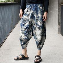 Homens mulheres japonês Samurai Boho Casual Low Crotch soltas Fit Harem Baggy Hakama Capri recortada calças de linho calças grátis frete(China (Mainland))