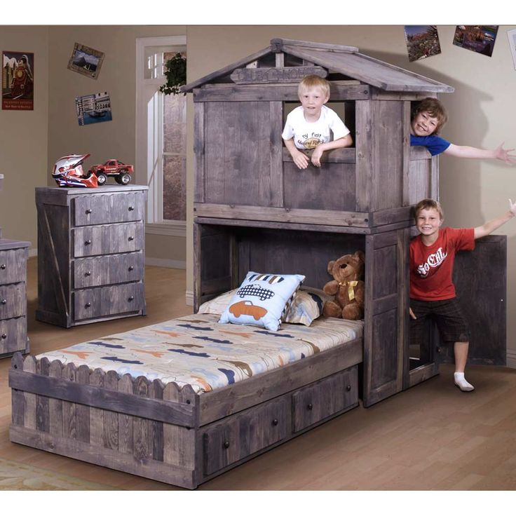 Found it at www.dcgstores.com - ♥ ♥ Twin Storage Bed - Club House Headboard, Driftwood Finish ♥ ♥