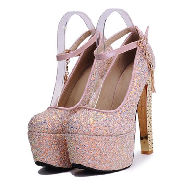Nueva paño Sequined europa Style mujeres atractivas Ultra zapatos de tacón alto brillante Glitter partido mujeres bombas plataforma moderno mujeres zapato