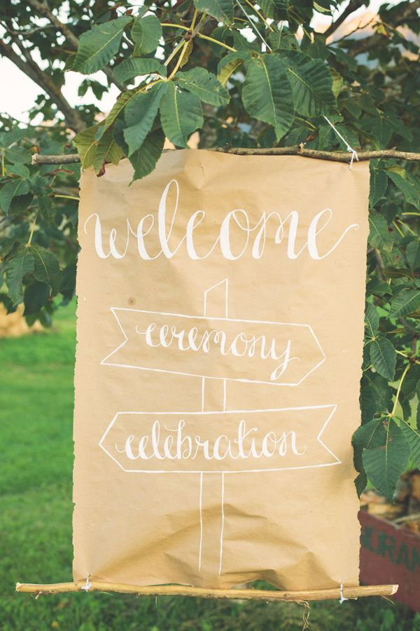calligraphy wedding sign, photo by The Nickersons http://ruffledblog.com/north-arm-farm-wedding #signage #weddingsigns #kraftpaper