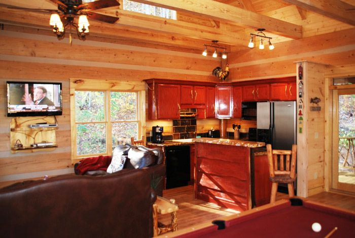 Another red cabin kitchen | Mom's Cabin | Pinterest | Log ...