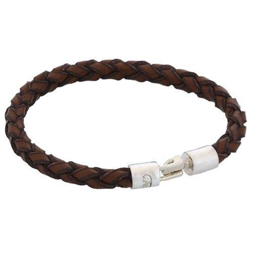 Pulsera de cuero marrón y plata. Bracelet