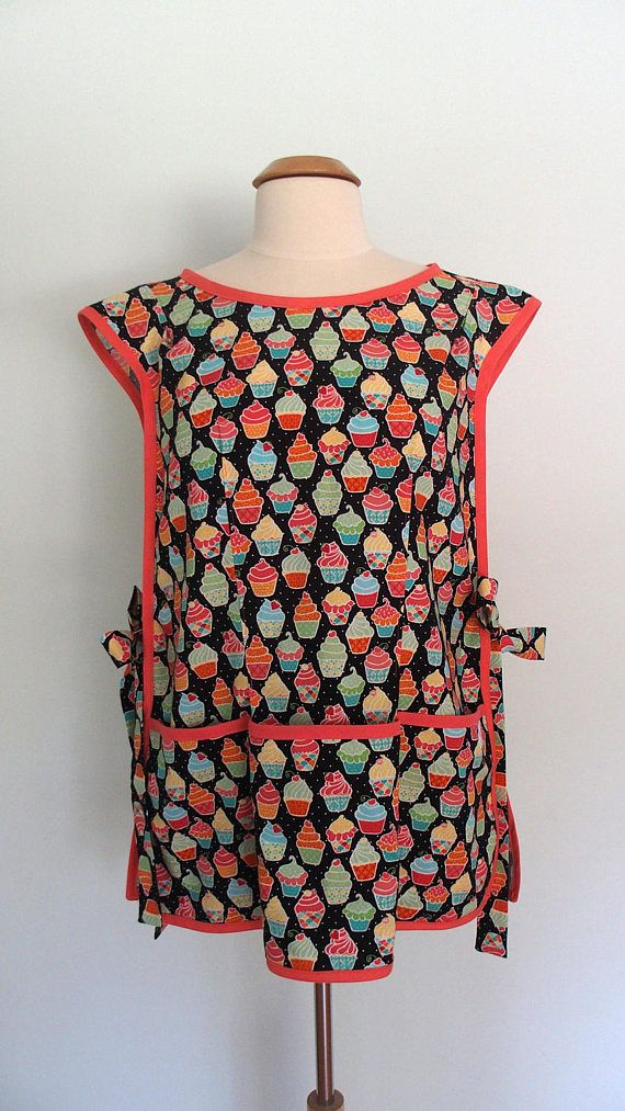 Cupcake Apron Retro Cobbler Apron in Black and Pink Over the