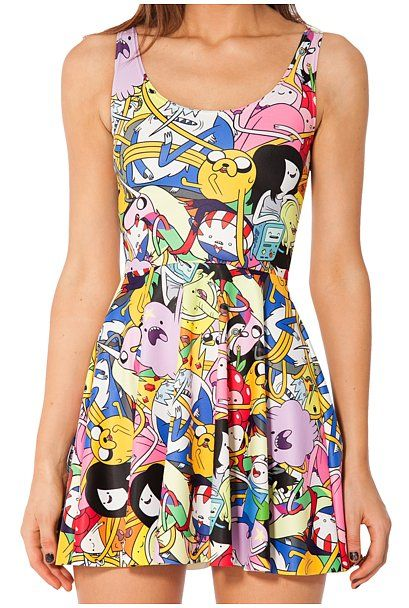 Bro Ball Skater Dress The entire Adventure collection by BlackMilk is worth considering, but our favorite is the Bro Ball Skater Dress ($87) that features the whole gang — LSP, Marceline, Lady Rainicorn, BMO, Jake, and more. The dress is reversible and can be worn with a scoop front or racer front.