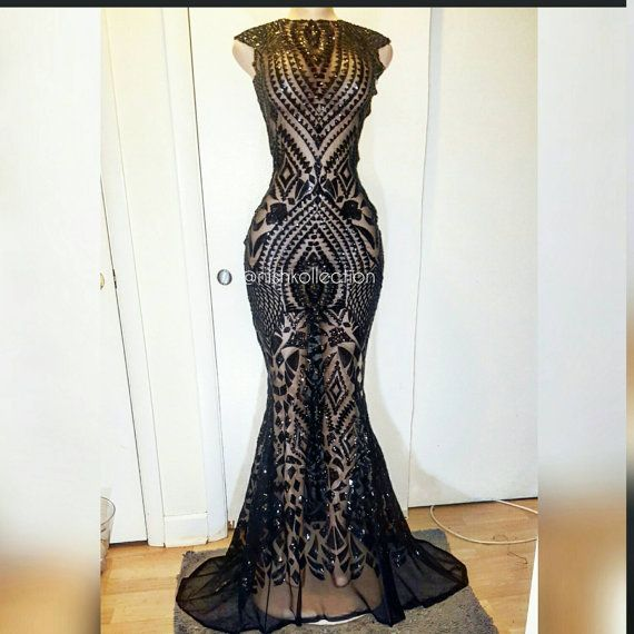 This is a well tailored sheer sequin lace mermaid dress this is best fitted when customized to size the lace only stretches 2 ways, you can request to have this dress lined also, be sure about measurements when placing order. All items can be customized upon request go to my website WWW.NISHKOLLECTION.COM you have the option to put in your exact measurements for a perfect fit. Please feel free to contact me at anytime for questions. Whatsapp or call contact number for a quicker response…