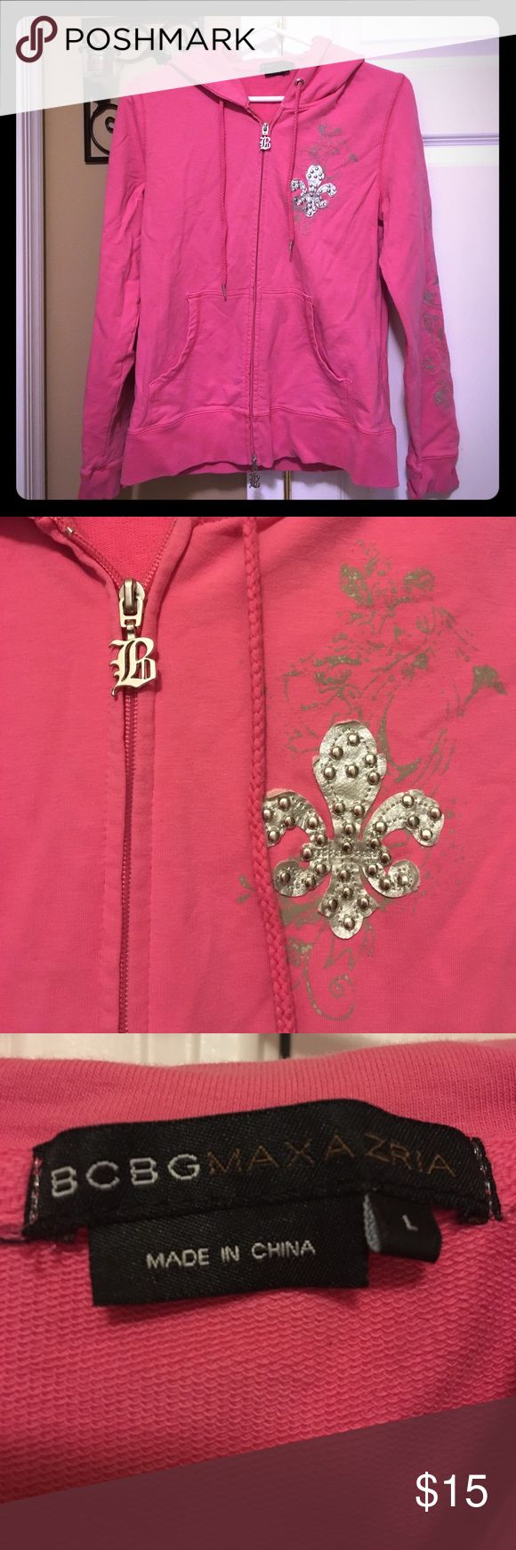 BCBG Maxazria zip up hoodie size Large Cute pink zip up hoodie by BCBG. Excellent condition, no pilling, stains or flaws. Size Large. BCBGMaxAzria Tops Sweatshirts & Hoodies