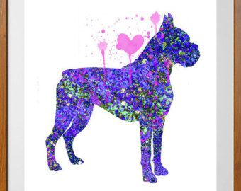 Female Boxer dog watercolor Print boxer dog by MimiPrints on Etsy