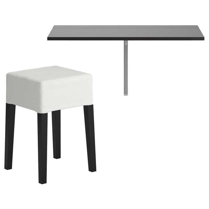 Table is attached to wall along one side and folds down to become a small shelf. BJURSTA/NILS Table and 1 stool - IKEA