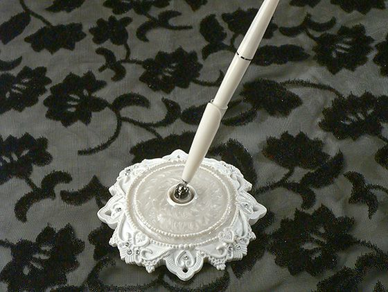 from cassiani collections exclusive elegant lace collection a resin pen set with resin epoxy enamel accented pen holder accented with lace like scalloped