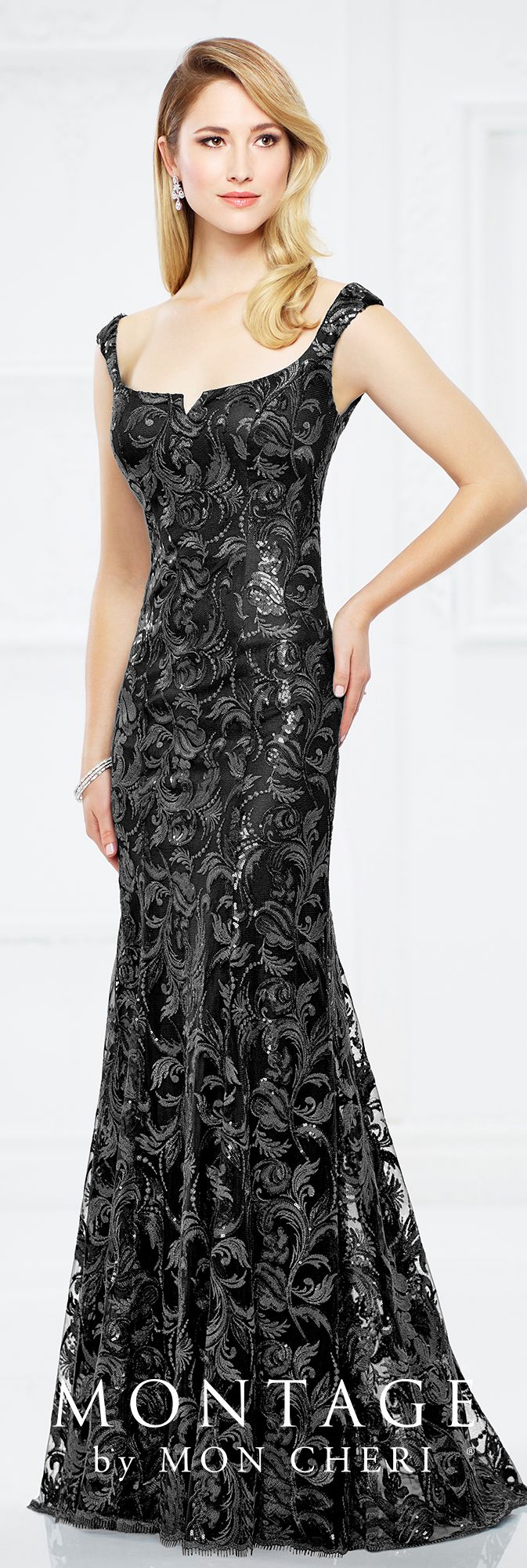 Formal Evening Gowns by Mon Cheri - Fall 2017 - Style No. 217943 - black sequin fit and flare evening dress with slight cap sleeves