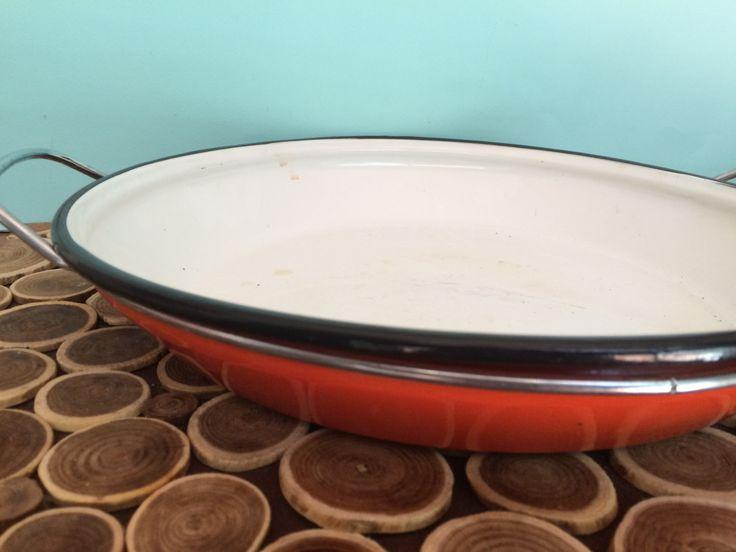 Vintage Orange Enamel 13 inch (33cm) Saute Pan - Catherineholm Style - Scandinavian Midcentury Modern Cookware by 20thCKitchenAndTable on Etsy