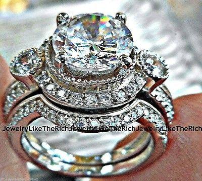 14k white gold 925 sterling silver round diamond cut engagement ring wedding set - Ebay Wedding Rings