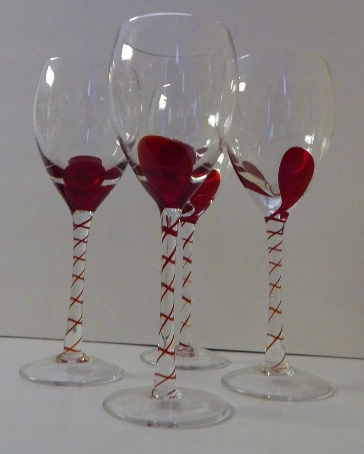 """4 Original CLEAR and RED Fused Stem WINE GLASS 9.25"""" Mixed Drink BAR"""