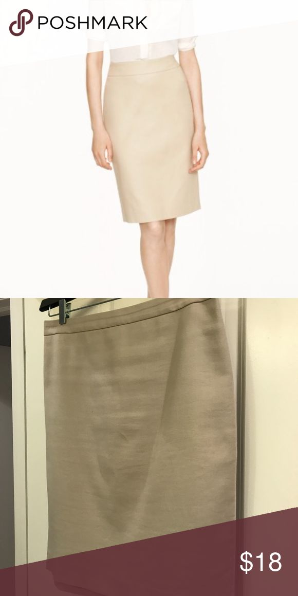 "J. Crew Pencil Skirt Tan/taupe tan pencil skirt in superfine cotton. Knee length (22"") . Back zip. Back vent. Lined.  Good condition. J. Crew Skirts Pencil"