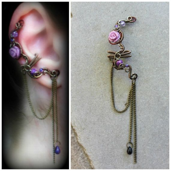 Wire wrapped Rose ear cuff No piercing earring by rsuniquejewel