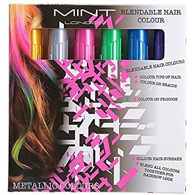Haare Kreide - Metallic Glitter temporäre Haarfarben - Randkreide - kein Durcheinander - in Dichtstoff gebaut - Arbeiten auf allen Haarfarben - Farbe Essentials Set (6 Farben) Von SySrion