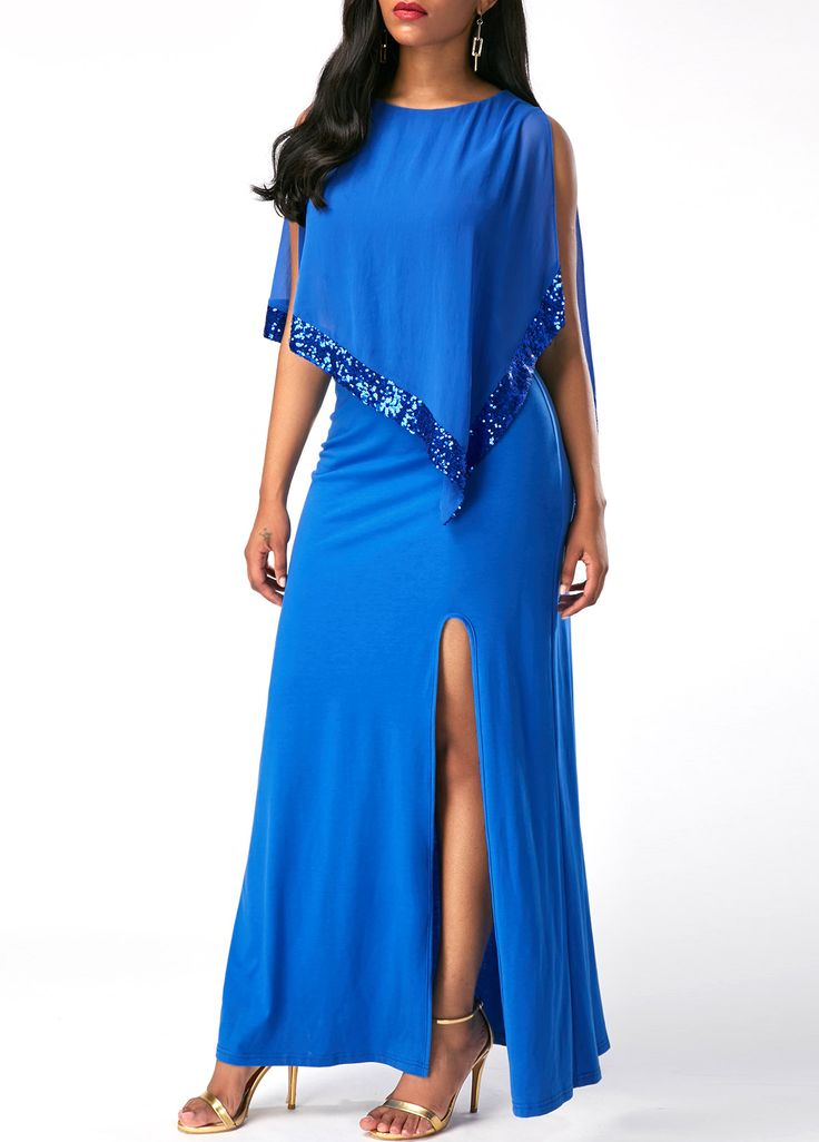 Overlay Embellished Round Neck Front Slit Dress on sale only US$39.16 now, buy cheap Overlay Embellished Round Neck Front Slit Dress at liligal.com
