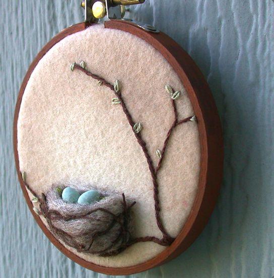 3D Wool nest wall art by Janine - Foxtail Creek Studio