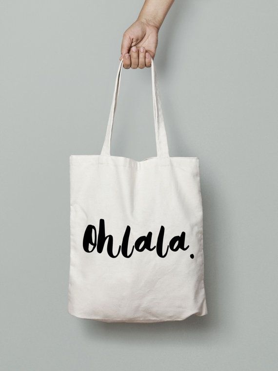 Ohlala Tote Bag  Canvas Tote Bag  French Tote Bag  by Mybebecadum
