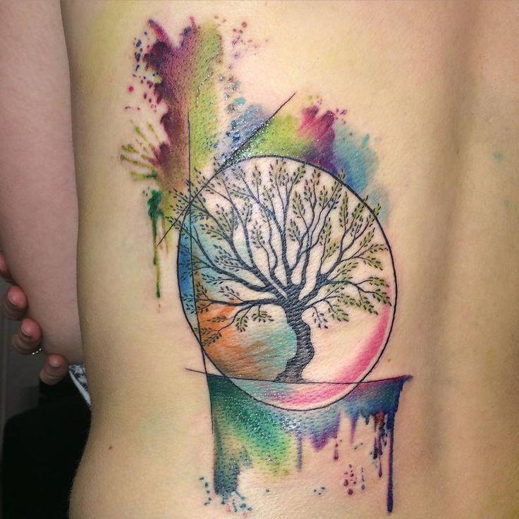 small watercolor tree tattoo - Google Search