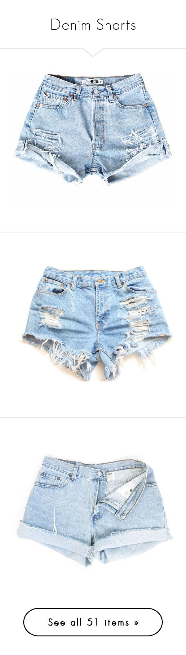 """Denim Shorts"" by oh-aurora ❤ liked on Polyvore featuring shorts, bottoms, short, pants, high waisted shorts, short shorts, distressed jean shorts, denim short shorts, high-waisted shorts and plus size denim shorts"