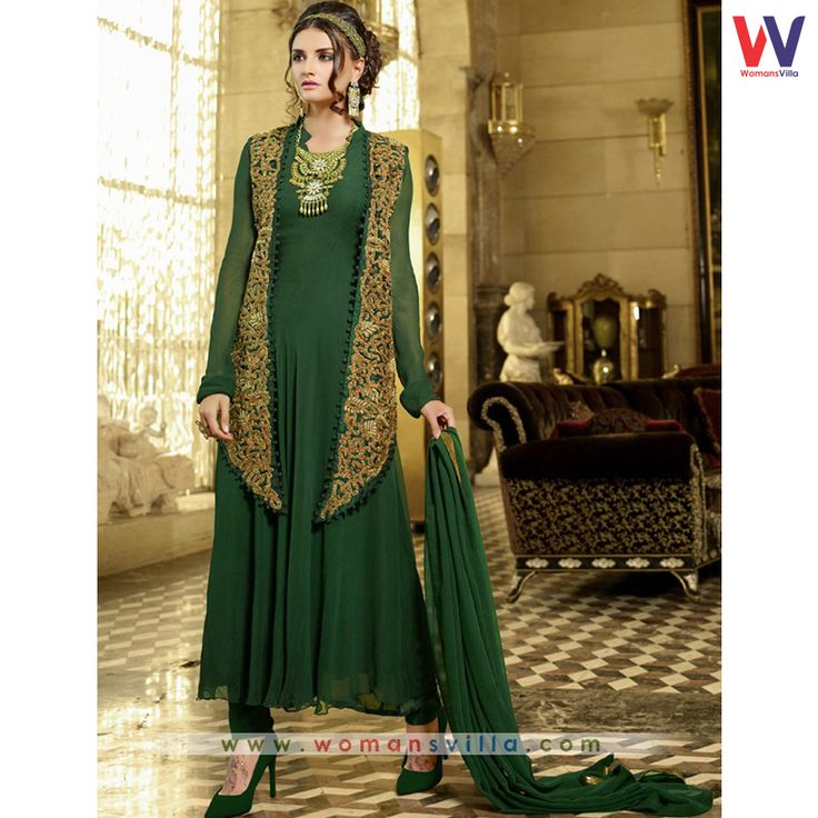 Expensive Green Colored Georgette Designer Salwar Suit#Womansvilla